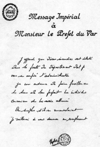 Napoléon,incendies,indendiaires,var,faux document,forgerie,apocryphe,dictateur,lettre,préfet,fusiller